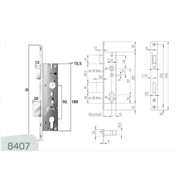 8407 Κλειδαριά DIN